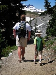 Hiking on Mt. Rainier, WA.