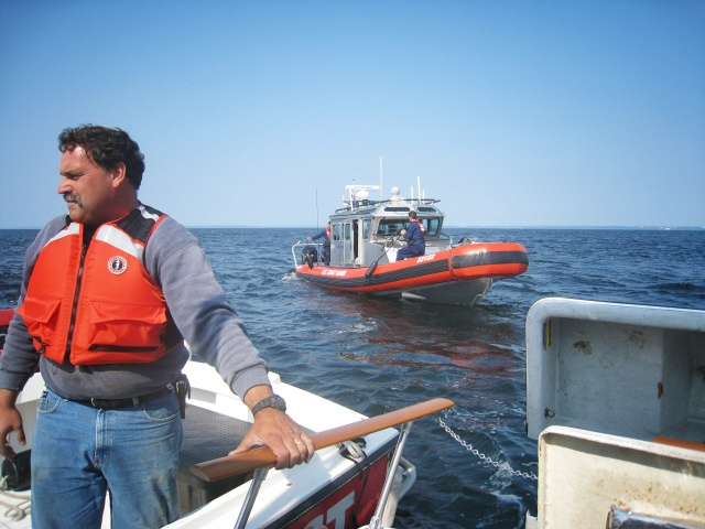 Later that afternoon we finally left the island only to lose power out in the open water. The Coast Guard came to check on us.