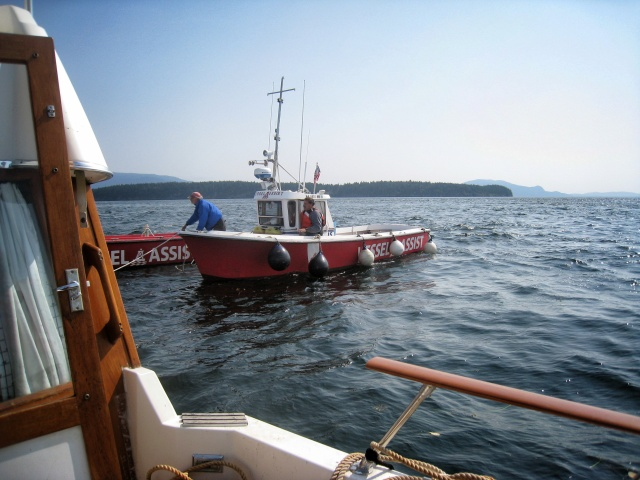 The second call to Vessel Assist ended in a four hour rope tow back to our Marina.