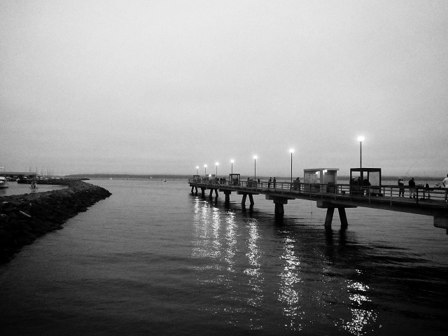 Early morning on the bridge to the fishing pier in Edmonds.