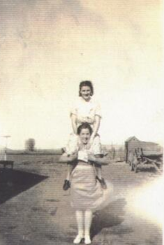 Grandma (on top) and her sister Cora